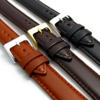 Polished Padded Nappa Leather Watch Strap 16mm 18mm 20mm 3 Colours C018
